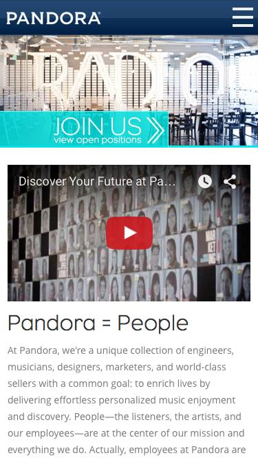 Screenshot of Jobs Page  pandora.com - Pandora Jobs - Welcome