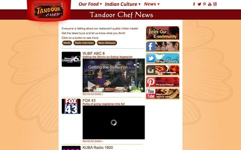 Screenshot of Press Page tandoorchef.com - News and reviews for authentic Indian food - captured Jan. 10, 2016