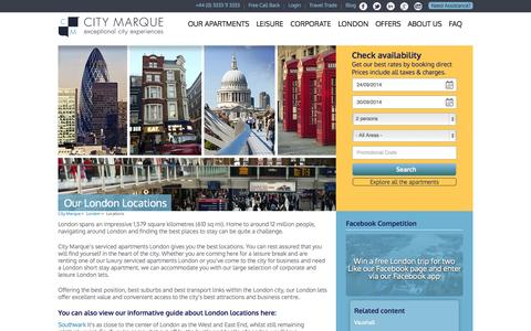 Screenshot of Locations Page citymarque.com - London Serviced Apartments Locations - captured Sept. 23, 2014