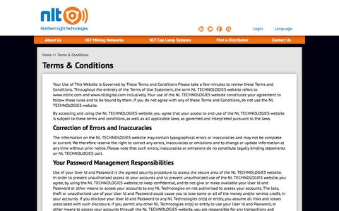Screenshot of Terms Page nltinc.com - Terms & Conditions   NLT  – Northern Light Technologies - captured Oct. 26, 2014