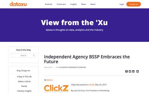 Screenshot of Blog dataxu.com - Independent Agency BSSP Embraces the Future - dataxu, inc. - captured Nov. 18, 2019