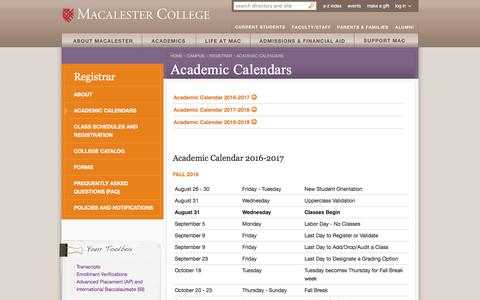 Academic Calendars - Registrar - Macalester College