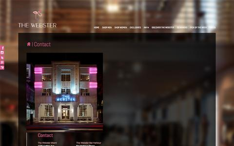 Screenshot of Contact Page thewebstermiami.com - Contact | The Webster Miami - captured Oct. 9, 2014