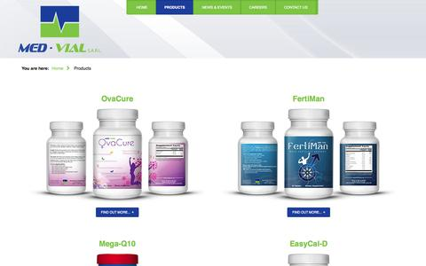 Screenshot of Products Page med-vial.com - Products - MED-VIAL - When Care is Passion... - captured Oct. 27, 2014
