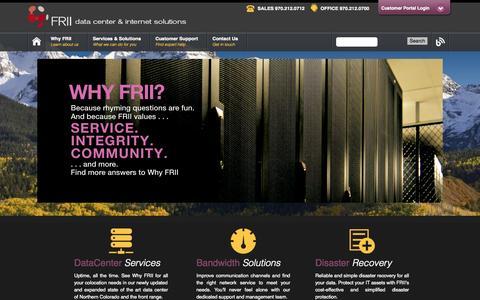Screenshot of Home Page frii.com - Data Center & Internet Solutions | FRII - captured Sept. 24, 2014