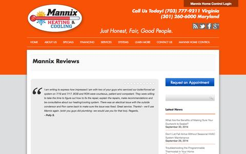 Screenshot of Testimonials Page mannixhvac.com - Reviews and Testimonials Mannix Germantown, MD - captured Oct. 3, 2014