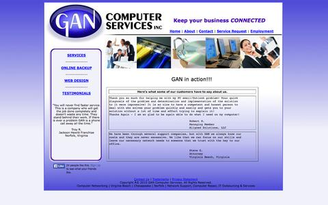 Screenshot of Testimonials Page gancomputer.com - GANcomputer.com - Home of GAN Computer Services - IT solutions  			for businesses, web design, computer repair, data backup. - captured Oct. 1, 2014