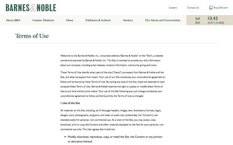 Screenshot of Terms Page barnesandnobleinc.com - Barnes & Noble, Inc. Terms of Use | B&N INC - captured Oct. 25, 2016