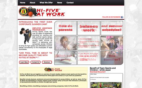Screenshot of Home Page hifiveatwork.com - Hi-Five At Work - captured Sept. 30, 2014