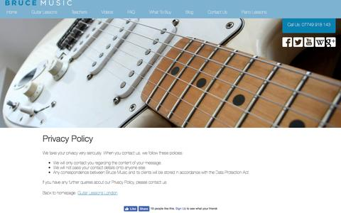 Screenshot of Privacy Page brucemusic.co.uk - Privacy Policy - captured July 30, 2016