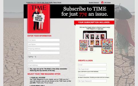 Screenshot of Landing Page time.com - TIME Magazine Subscription Offer - captured Nov. 4, 2016