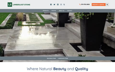 Screenshot of Home Page limberloststone.com - Quality Limestone for Building and Landscape Projects | Limberlost Stone - captured July 19, 2018