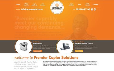 Screenshot of Home Page premiercopiersolutions.co.uk - Premier Copier Solutions - captured July 15, 2016