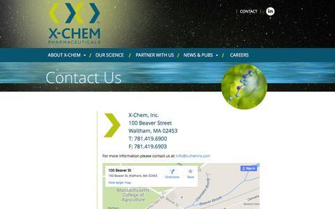 Screenshot of Contact Page x-chemrx.com - Contact - X-CHEM - captured Feb. 3, 2016