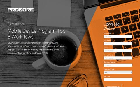 Screenshot of Landing Page procore.com captured March 15, 2016
