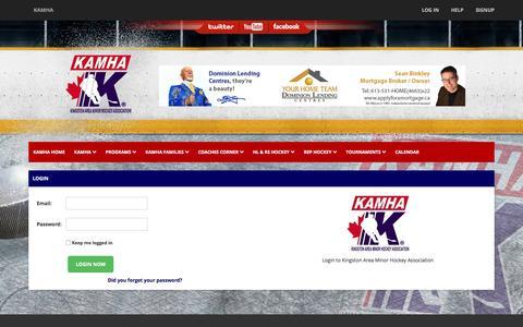 Screenshot of Login Page kamha.ca - KAMHA - Kingston Area Minor Hockey Association - captured Nov. 27, 2016