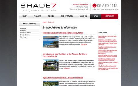 Screenshot of Press Page shade7.co.nz - NZ Shade Articles & Information | Shade Blog | Shade7 - captured Oct. 1, 2014