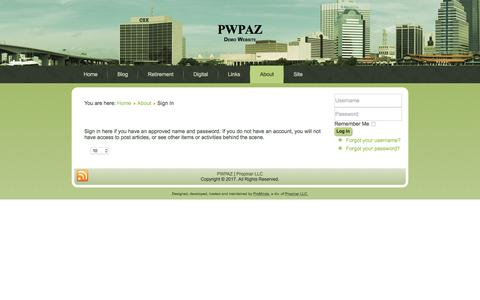 Screenshot of Login Page pwpaz.com - Sign In - PWPAZ - captured Aug. 21, 2017