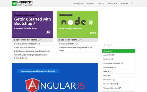 Screenshot of Blog hfarazm.com - Hfarazm Software Blog - AngularJS, Bootstrap, NodeJS & more Tutorials - captured July 3, 2017