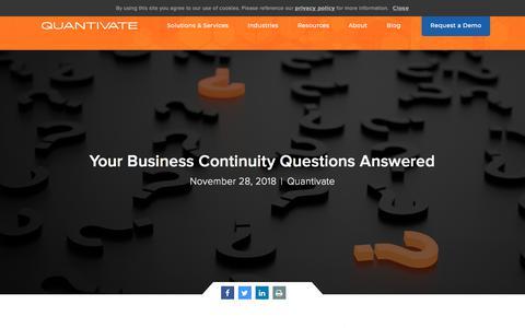 Screenshot of FAQ Page quantivate.com - Your Business Continuity Questions Answered | Quantivate - captured Dec. 3, 2019