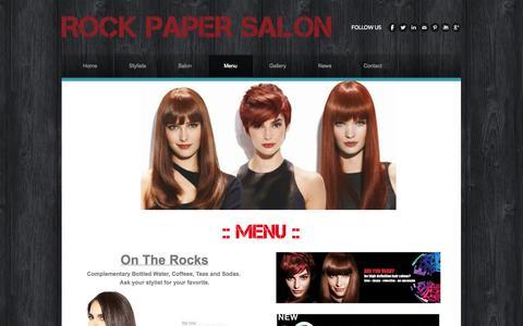 Screenshot of Menu Page rockpapersalonfl.com - Menu - ROCK PAPER SALON - captured Oct. 9, 2014