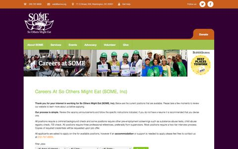 Screenshot of Jobs Page some.org - Careers at SOME | So Others Might Eat - captured Sept. 23, 2014