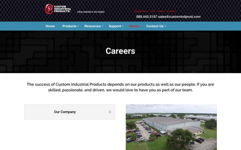 Screenshot of Jobs Page customindprod.com - Freight Lift Manufacturer Careers | Custom Industrial Products, Inc. - captured Jan. 26, 2020