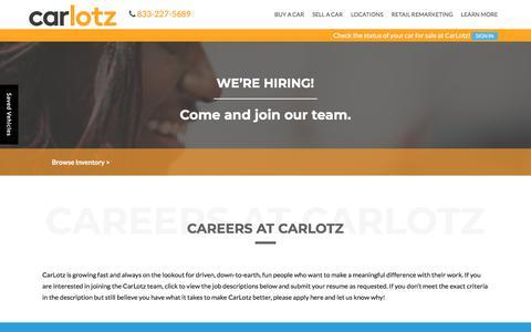 Screenshot of Jobs Page carlotz.com - Virginia and North Carolina Dealership Automotive Jobs | CarLotz - captured Aug. 21, 2019
