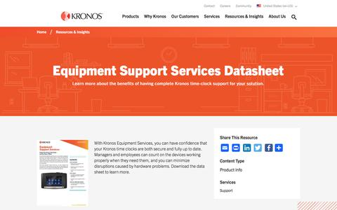 Screenshot of Support Page kronos.com - Equipment Support Services Datasheet | Kronos - captured April 28, 2017