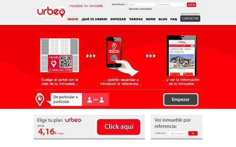 Screenshot of Home Page urbeo.es - Urbeo - captured Oct. 7, 2014
