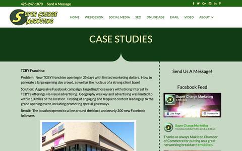Screenshot of Case Studies Page superchargemarketing.com - CASE STUDIES | Super Charge Marketing - captured Oct. 20, 2018