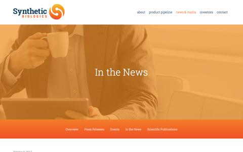Screenshot of Press Page syntheticbiologics.com - In the News :: Synthetic Biologics, Inc. (SYN) - captured Oct. 24, 2017