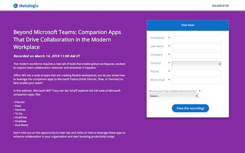Screenshot of Landing Page metalogix.com - Beyond Microsoft Teams: Companion Apps That Drive Collaboration in the Modern Workplace - captured March 29, 2018