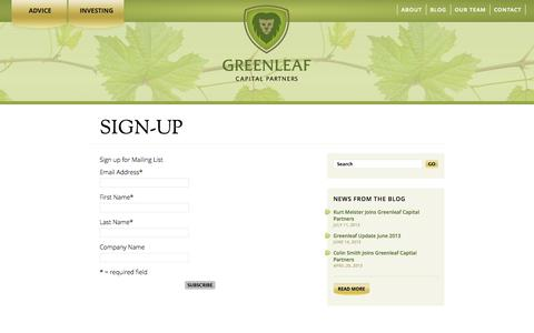 Screenshot of Signup Page greenleafcp.com - Sign-Up | Greenleaf Capital Partners - captured Oct. 4, 2014