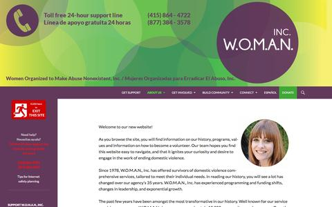 Screenshot of About Page womaninc.org - Welcome from the Executive Director - - captured Feb. 23, 2016