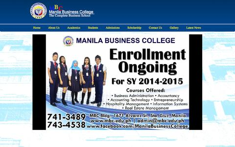 Screenshot of Home Page mbc.edu.ph - Manila Business College - captured Oct. 9, 2015