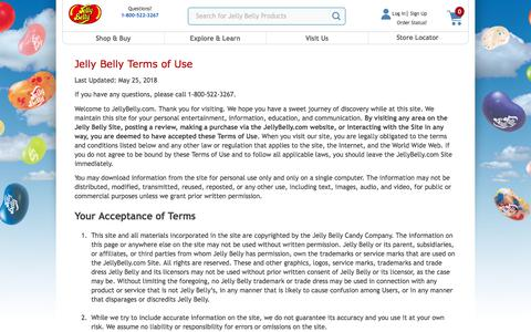 Screenshot of Terms Page jellybelly.com - Terms of Use     Jelly Belly Candy Company - captured Sept. 22, 2018