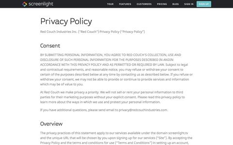 Screenshot of Privacy Page screenlight.tv - Privacy Policy — Video Review & Approval - captured July 13, 2016