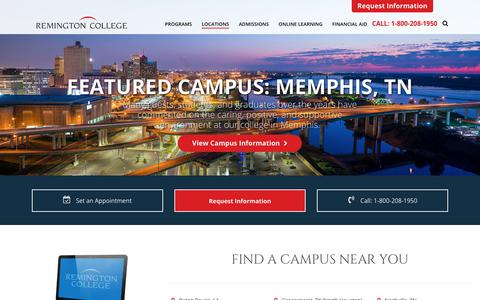 Screenshot of Locations Page remingtoncollege.edu - Remington College | 15 Convenient Locations Plus Online Programs - captured Sept. 27, 2018