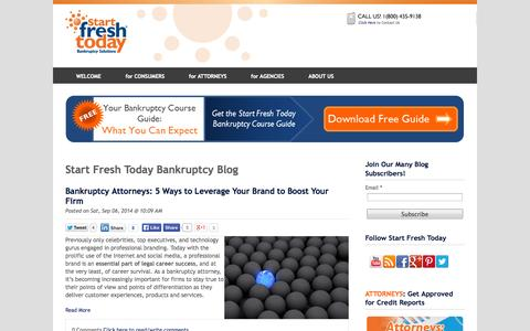Screenshot of Blog startfreshtoday.com - Bankruptcy Blog | Start Fresh Today - captured Sept. 24, 2014