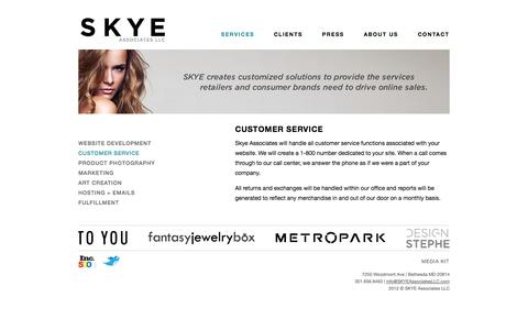 Screenshot of Support Page skyeassociatesllc.com - Services -          Customer Service - captured Sept. 17, 2014