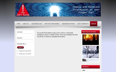 Screenshot of Signup Page thealertsystems.com - Alert System Sign Up - captured Oct. 26, 2014