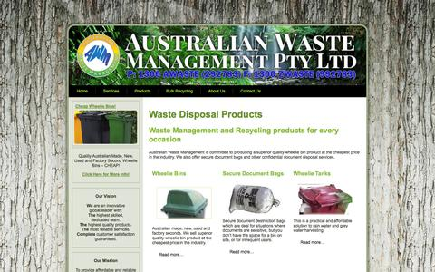 Screenshot of Products Page australianwastemanagement.com.au - Waste Disposal Products | Waste Industry equipment Sales - captured Oct. 4, 2014