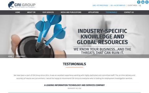 Screenshot of Testimonials Page crigroup.com - Testimonials | CRI Group - captured Sept. 3, 2017