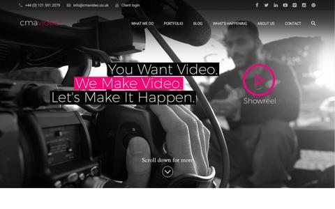 Screenshot of Home Page cmavideo.co.uk - Corporate Video Production Company Birmingham   CMA - captured July 9, 2016