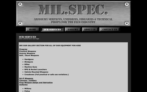 Screenshot of Services Page milspec.co.za - [ MIL. SPEC. ] Services Offered - captured Sept. 30, 2018