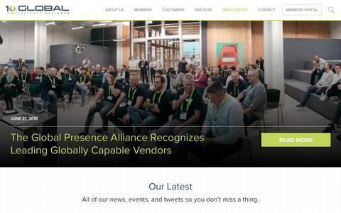Screenshot of Press Page global-presence.org - News/Events - Global Presence Alliance - captured Oct. 21, 2018