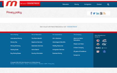 Screenshot of Privacy Page matrixrelo.com - Privacy policy - captured Oct. 17, 2018