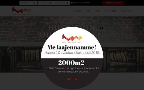 Screenshot of Home Page huone.fi - Kokoustilat -ja Juhlapalvelut - captured Sept. 17, 2015