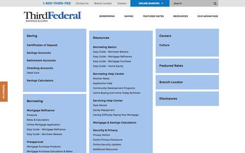 Screenshot of Site Map Page thirdfederal.com - Sitemap - captured Aug. 17, 2016